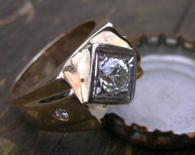 A .78 Carat Diamond Men's Ring. Setting is 14k, 16.6 gr.