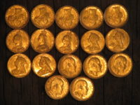 19 gold sovereigns [2 not shown] from 1875 to 1904, detected by Paul M. of Australia on a cleared house block.